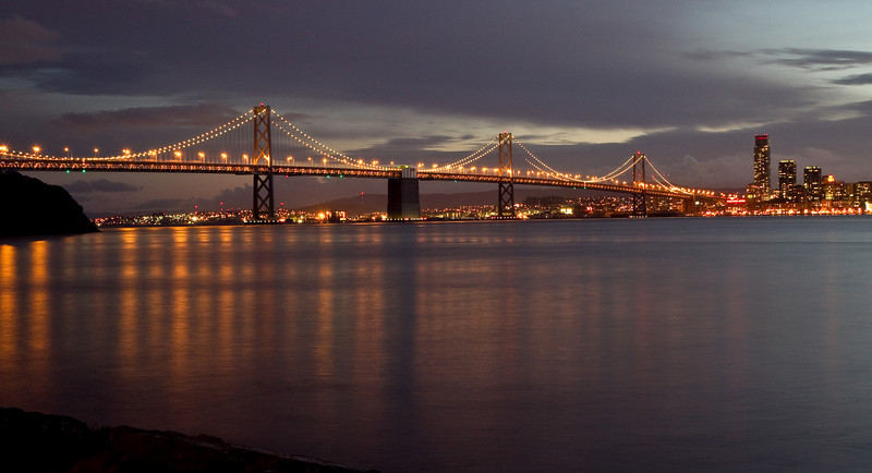 Bay Bridge at twilight from Treasure Island
