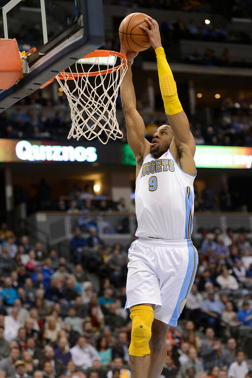 . DENVER, CO. - JANUARY 30: Denver Nuggets shooting guard Andre Iguodala (9) goes up for a dunk during the second quarter against the Houston Rockets January 30, 2013 at Pepsi Center. The Denver Nuggets take on the Houston Rockets in NBA action. (Photo By John Leyba/The Denver Post)