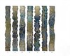Contorno I-VII, 60x8x1 each painting with mixed media on metal