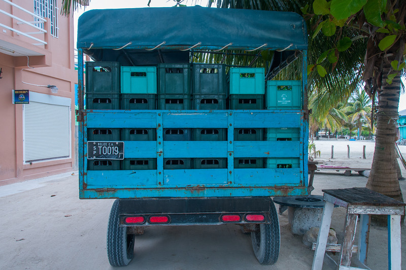 Delivery truck in Caye Caulker, Belize