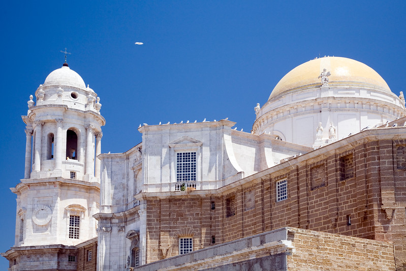 View of Cadiz Cathedral from Campo del Sur.