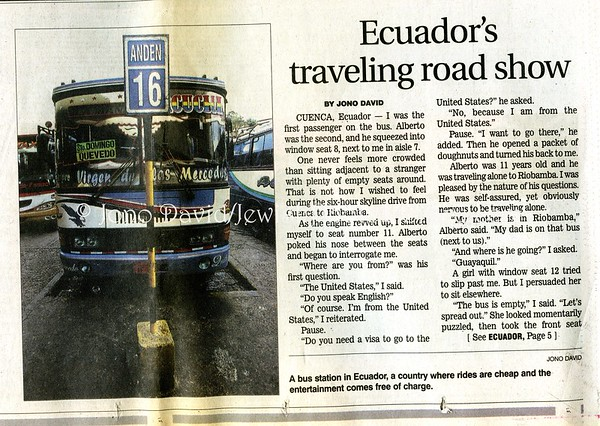Ecuador bus. Star Ledger. Newark, NJ, USA. Nov 20, 2005