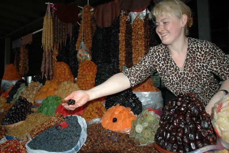 Woman with Piles of Dried Fruits - Tbilisi, Georgia
