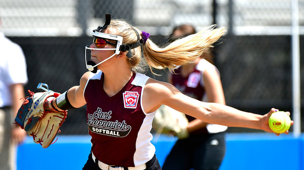 7/24/2019 Mike Orazzi | Staff Rhode Island's Ava Fairbanks (24) during Wednesday's Little League Softball game in Bristol.