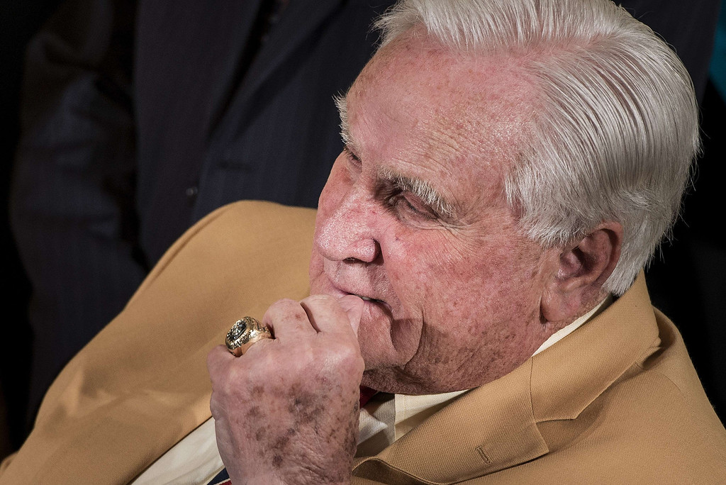 . Former Miami Dolphins coach Don Shula listens during a ceremony in the East Room of the White House August 20, 2013 in Washington, DC. Obama was joined by members of the 1972 Miami Dolphins to celebrate the Super Bowl win against the Washington Redskins in 1973. BRENDAN SMIALOWSKI/AFP/Getty Images