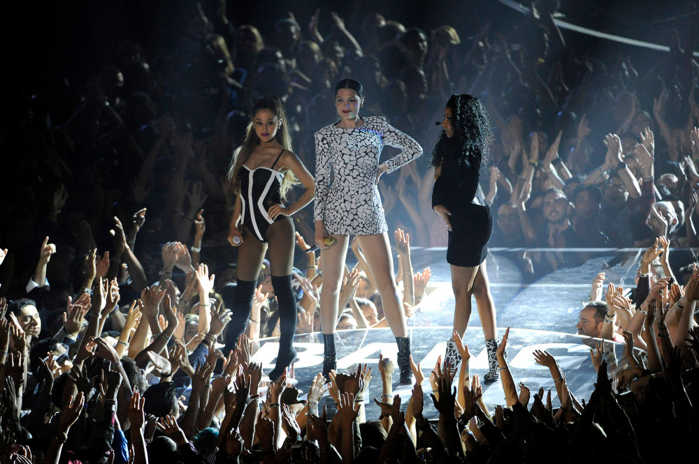 . Ariana Grande, from left, Jessie J and Nicki Minaj perform at the MTV Video Music Awards at The Forum on Sunday, Aug. 24, 2014, in Inglewood, Calif. (Photo by Chris Pizzello/Invision/AP)