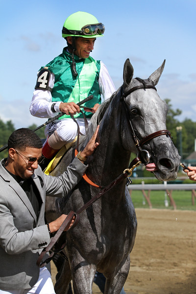 Significant Form (Creative Cause) and jockey John Velazquez win the Ballston Spa (Gr II) at Saratoga Racecourse 8/24/19. Trainer: Chad Brown. Owner: Stephanie Seymour Brant