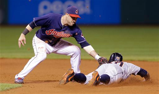 . Cleveland Indians\' Jason Kipnis, left, tags out Detroit Tigers\' Rajai Davis after Davis tried to steal to second base in the eighth inning of a baseball game, Tuesday, Sept. 2, 2014, in Cleveland. (AP Photo/Tony Dejak)
