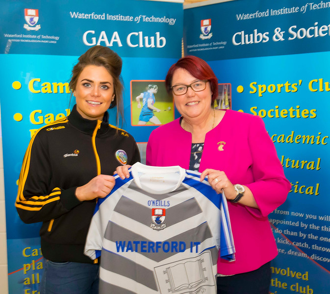 WIT holds event to honour 2016 All Ireland medal winning students. Pictured with the  President of the Camogie Association Catherine Neary is Katie Power of the Kilkenny Senior Camogie Team. Picture: Patrick Browne  Waterford Institute of Technology's presence and influence across Gaelic Games at a national level in 2016 has been very noticeable. In total there are 32 past and present WIT students on the respective playing panels that won All Ireland medals in 2016 and a further 4 members on the backroom management teams.   To honour this huge achievement, WIT GAA Club is paying tribute to these 36 past members on securing these prestigious national titles on Monday 3 October, 6.30pm at the WIT Arena.   Along with the players, the prestigious cups, including the All Ireland Senior Hurling Cup- Liam McCarthy, the All Ireland Senior Camogie Cup- O'Duffy, The All Ireland Minor Cup and the All Ireland Under 21 Hurling Cup- James Nowlan, will be on show on the night.