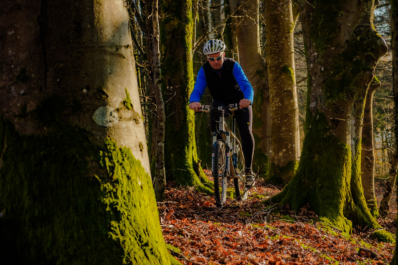 Autumn in the UK, cycling at Lake Vyrnwy, Wales