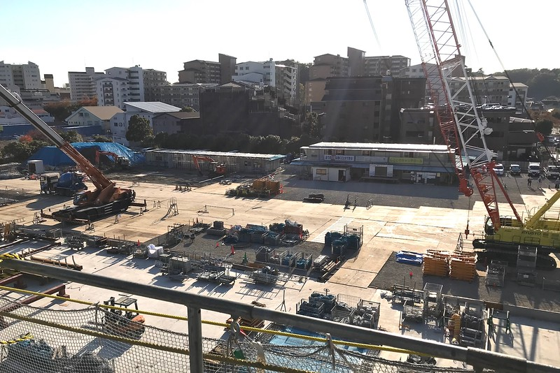 View of the west side of the construction site from the North Building