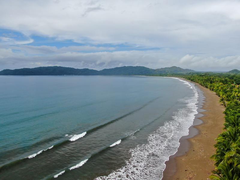 tropical beach with palm trees,tambor, Costa Rica