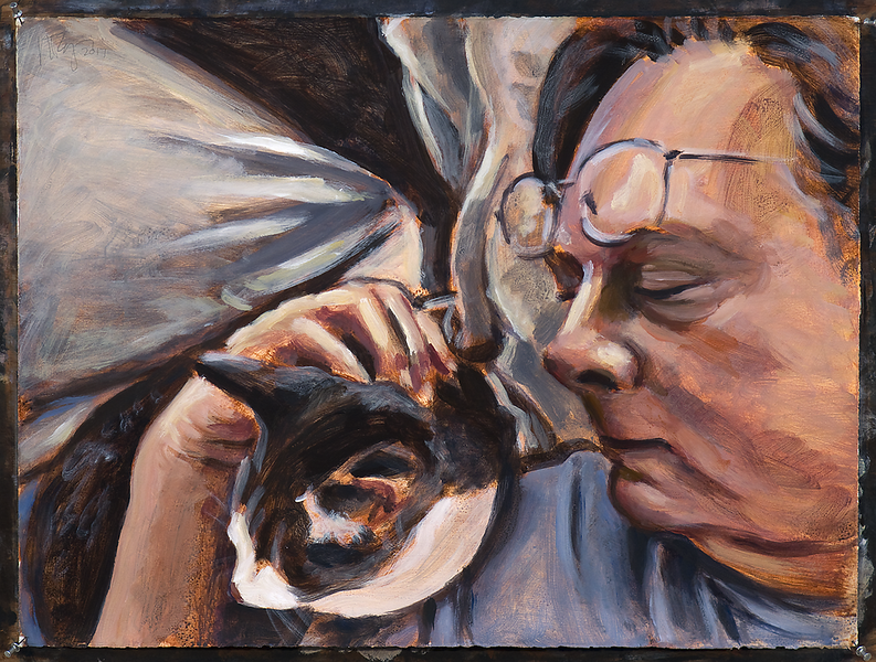 Self portrait with cat (version 2); acrylic on paper, 22 x 30 in, 2017