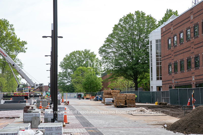 The Wilkins Plaza walkway will open to pedestrians on May 3, 2021 while construction of the Enslaved People of George Mason memorial continues. Photo by: Shelby Burgess/Strategic Communications/George Mason University