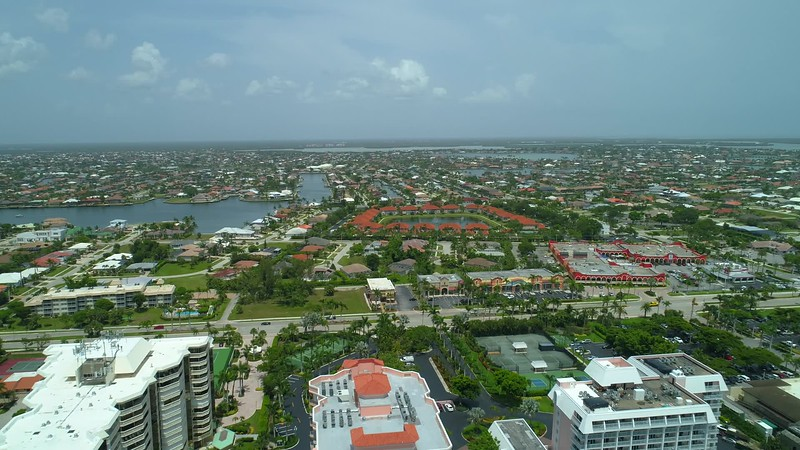 Aerial pull out reveal footage Marco Island Florida