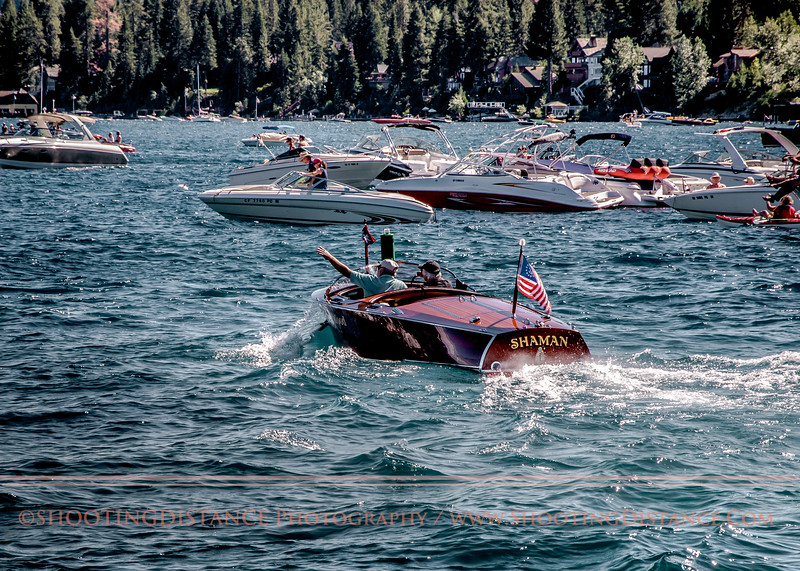 The shaman motors out of the harbor at 2011 Tahoe Concours D'Elegance