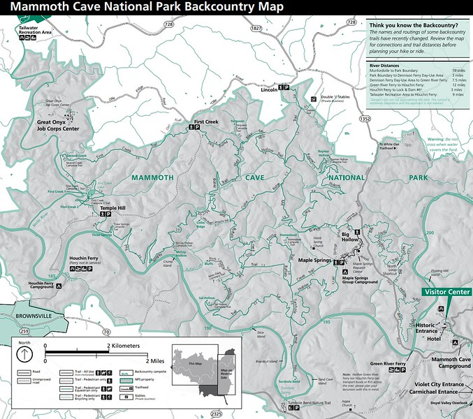 Mammoth Cave National Park (Backcountry Map)
