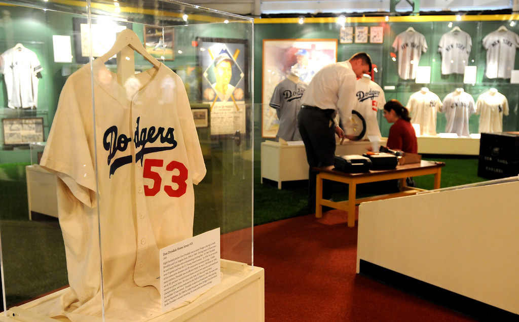 ". A 1965 Don Drysdale jersey is included in the ""Baseball!\"" exhibit. The Exhibition opens April 4, 2014 at the Ronald Reagan Presidential Library and Museum.  Running through September 4, 2014, Baseball is a 12,000 square foot exhibition featuring over 700 artifacts, including some of the rarest, historic and iconic baseball memorabilia.  (Photo by Dean Musgrove/Staff Photographer)"
