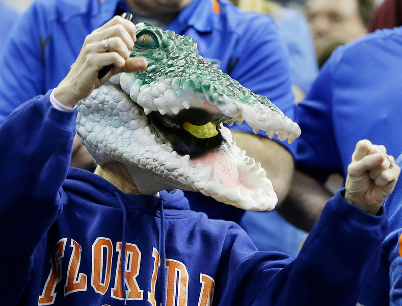 . Florida fans cheer before the first half in a regional final game against Dayton at the NCAA college basketball tournament, Saturday, March 29, 2014, in Memphis, Tenn. (AP Photo/Mark Humphrey)