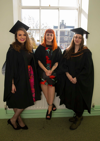 02/11/2016. Waterford Institute of Technology (WIT) Conferring Ceremonies November 2016. Pictured are Sarah Power, Waterford, Becky Phelan, Waterford and Jacqueline Purcell, Kilkenny who graduated BA (Hons). Picture: Patrick Browne