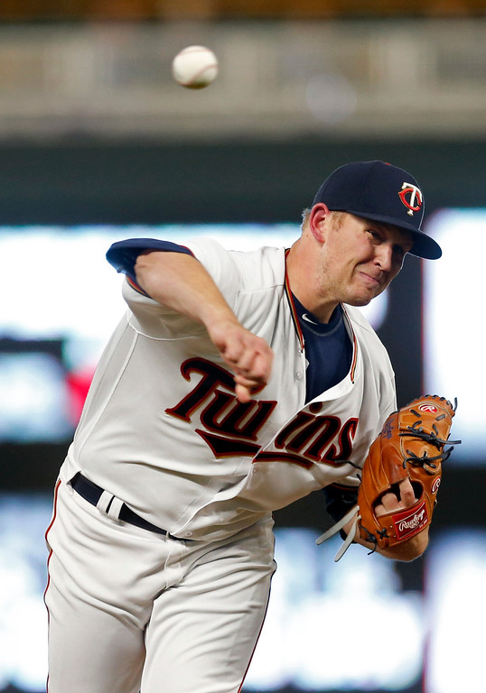 . Minnesota Twins pitcher Tyler Duffey throws against the Cleveland Indians in the ninth inning of a baseball game Monday, April 17, 2017, in Minneapolis. (AP Photo/Jim Mone)