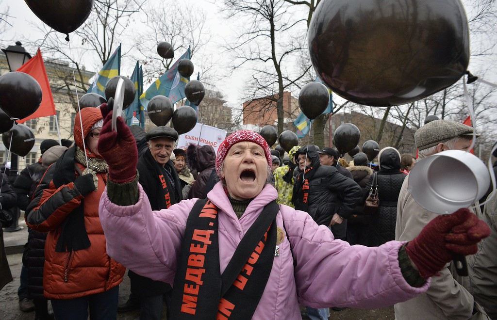 . A Russian Communist party supporter (C) shouts slogans as she takes part in a rally against the policies conducted by the Russian government in central Moscow on March 1, 2015. YURI KADOBNOV/AFP/Getty Images