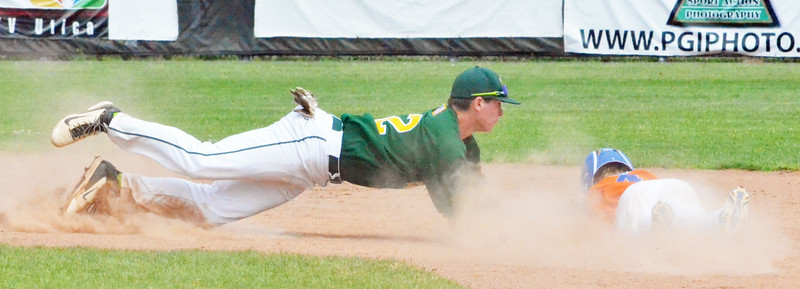 KYLE MENNIG - ONEIDA DAILY DISPATCH Vestal Post's Owen Dando (12) dives to tag out Oneida Post's Lukas Albro (4) trying to advance to second on a wild pitch during the New York State Junior American Legion Baseball championship game in Utica on Saturday, July 30, 2016.
