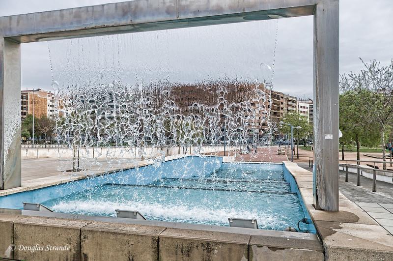 Thur 3/10 in Cordoba: Water-wall fountain near our hotel