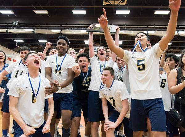 06/07/18 Wesley Bunnell | Staff Newington volleyball defeated Joel Barlow on Thursday night at Shelton High School to claim the Class M State Championship. End Lici (11), Darien Rodriguez (1), Louis Egbuna (2), Julian Ortiz (16), Evan Metzger (3), Daniel Cloutier (7) and Keenan Esau (5).