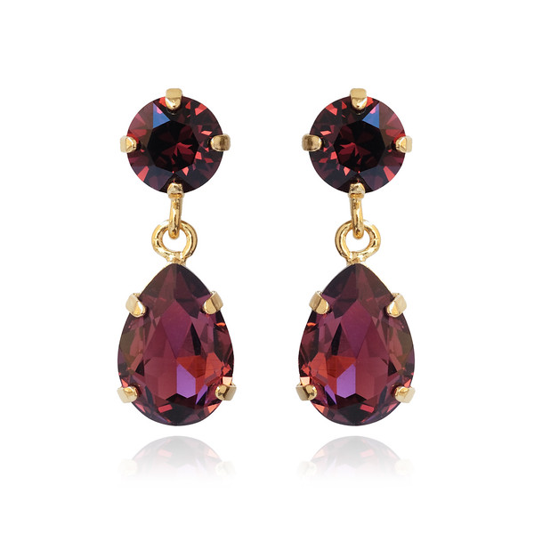 Mini Drop Earrings / Burgundy / Gold