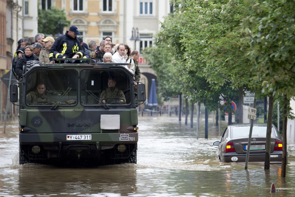 . Residents of flooded areas in Gera, eastern Germany are evacuated on June 3, 2013. Parts of the eastern and southern Germany were flooded due to heavy and ongoing rainfalls.  MARC TIRL/AFP/Getty Images