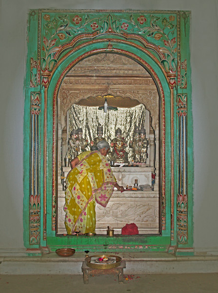 a Hindu devotee at worship