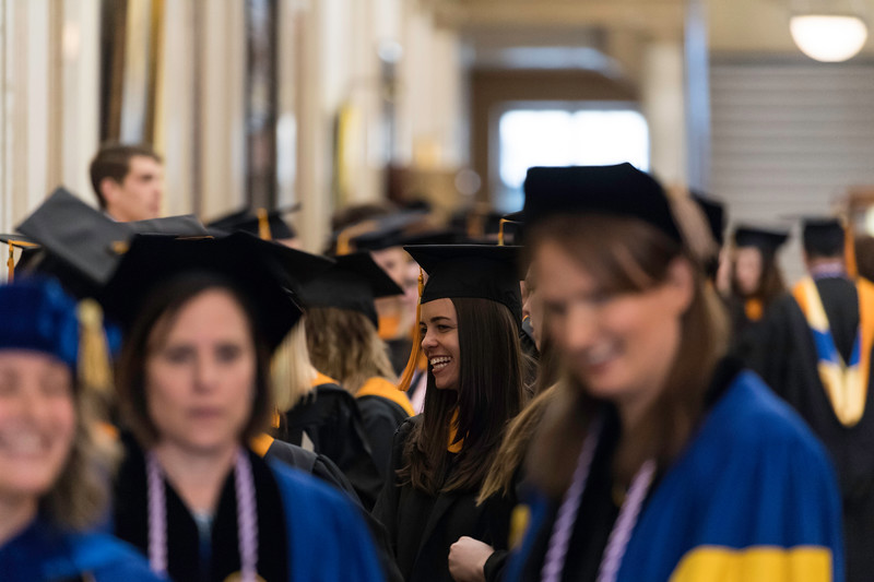 Graduates get ready in Lowry Hall before the ceremony. // University of Rochester School of Nursing Commencement, Kodak Hall at Eastman Theatre May 17, 2019.  // photo by J. Adam Fenster / University of Rochester