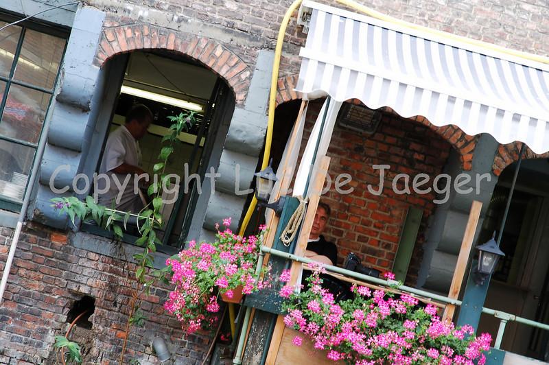 Looking inside a kitchen of a restaurant situated in the Jan Breydelstraat in Ghent (Gent), Belgium, during the 2010 Ghent Festivities (Gentse Feesten).