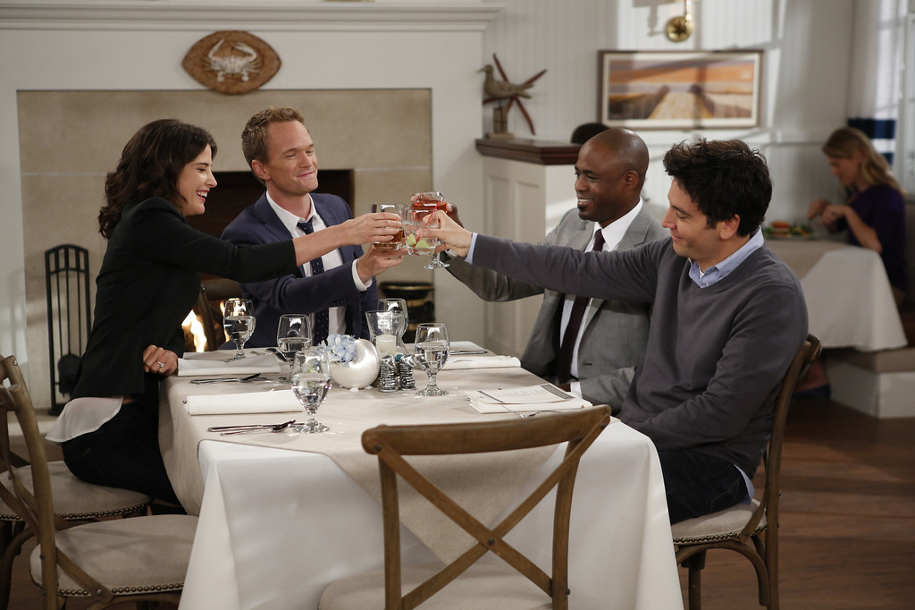 ". ""Coming Back\"" -- The wedding weekend is here! Robin (Cobie Smulders),Barney (Neil Patrick Harris), James (Wayne Brady) and Ted (Josh Radnor) share a toast before the chaos begins. The ninth season of HOW I MET YOUR MOTHER premieres with a special one-hour episode, Monday, Sept. 23 (8:00-9:00 PM, ET/PT) on the CBS Television Network. Photo: Cliff Lipson/CBS ���© 2013 CBS Broadcasting, Inc. All Rights Reserved."