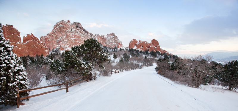 Garden of the Gods in the snow