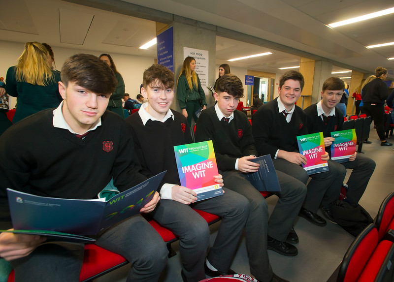 20/01/2017.  Waterford Institute of Technology (WIT) open day at WIT Arena. Pictured are Luke O'Donnell, Ian Gildman, Alex Gibbons, Thomas Cseh and John Cena from CBS High School Clonmel. Picture: Patrick Browne