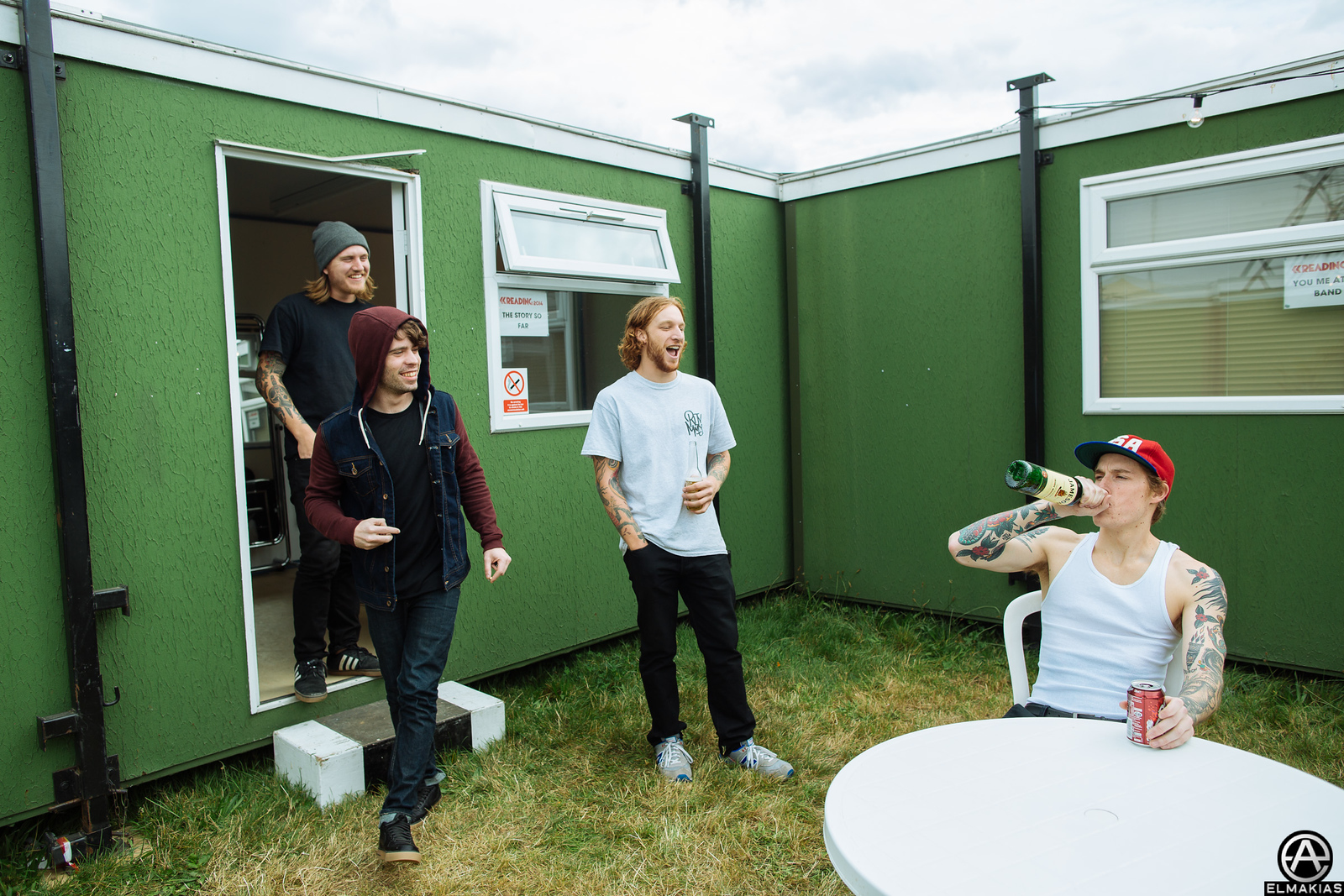 Alex Shelnutt hanging out with The Story So Far backstage at Reading Festival