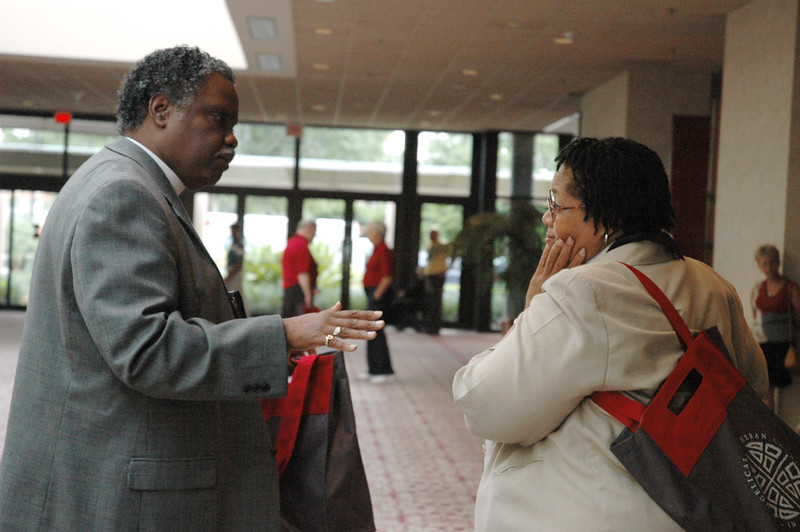 Pr. Julius Carroll and Pr. Rochelle Lewis - resource people for the African Descent Ministry Strategy - outside the plenary hall