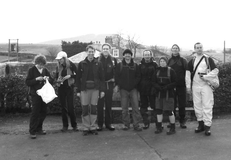 The motley crew, raring to go at the start, Horton-in-Ribblesdale, 08:15.