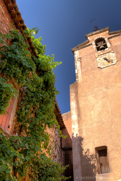 Church and grapevine-wall, in Roussillon.