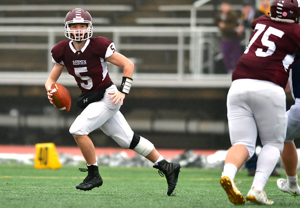 12/14/2019 Mike Orazzi | Staff Killingly's Jacob Nurse (5) during the Class M State final at Veteran's Stadium in New Britain on Saturday.
