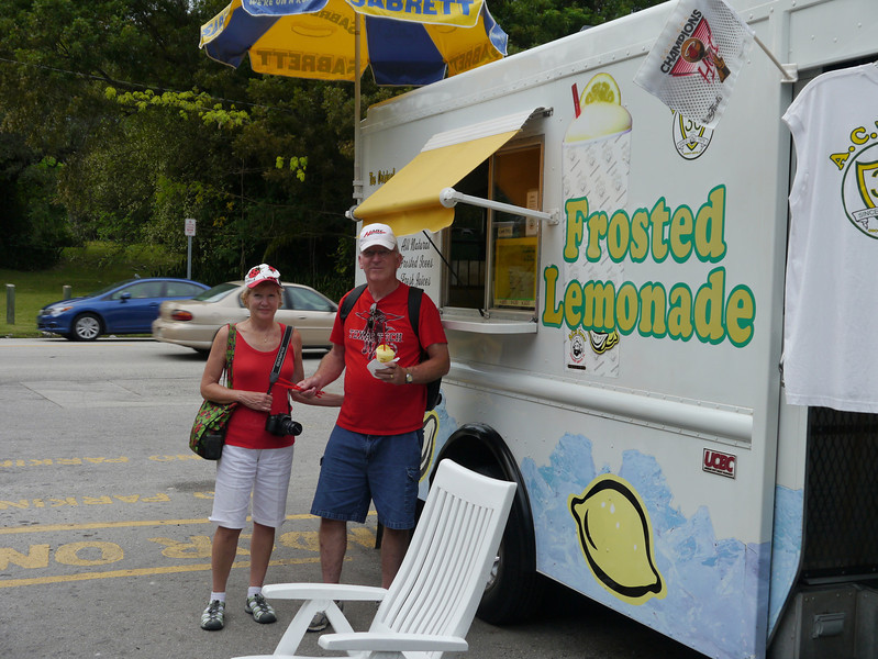 Mike and Linda enjoying a Frosted Lemonade at Coconut Grove, Florida
