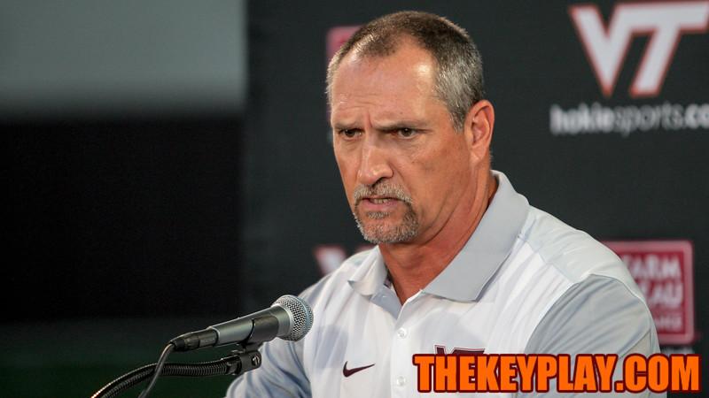 Defensive coordinator Bud Foster speaks with the media. (Mark Umansky/TheKeyPlay.com)