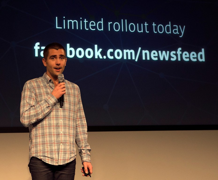 . Facebook\'s Chris Cox, vice president of product talks about thge new look to Facebook\'s News Feed on Thursday morning, including more control for users, and more emphasis on photos and videos, during the launch event hosted at Facebook in Menlo Park, Calif., on Thursday, March 7, 2013. (John Green/Staff)