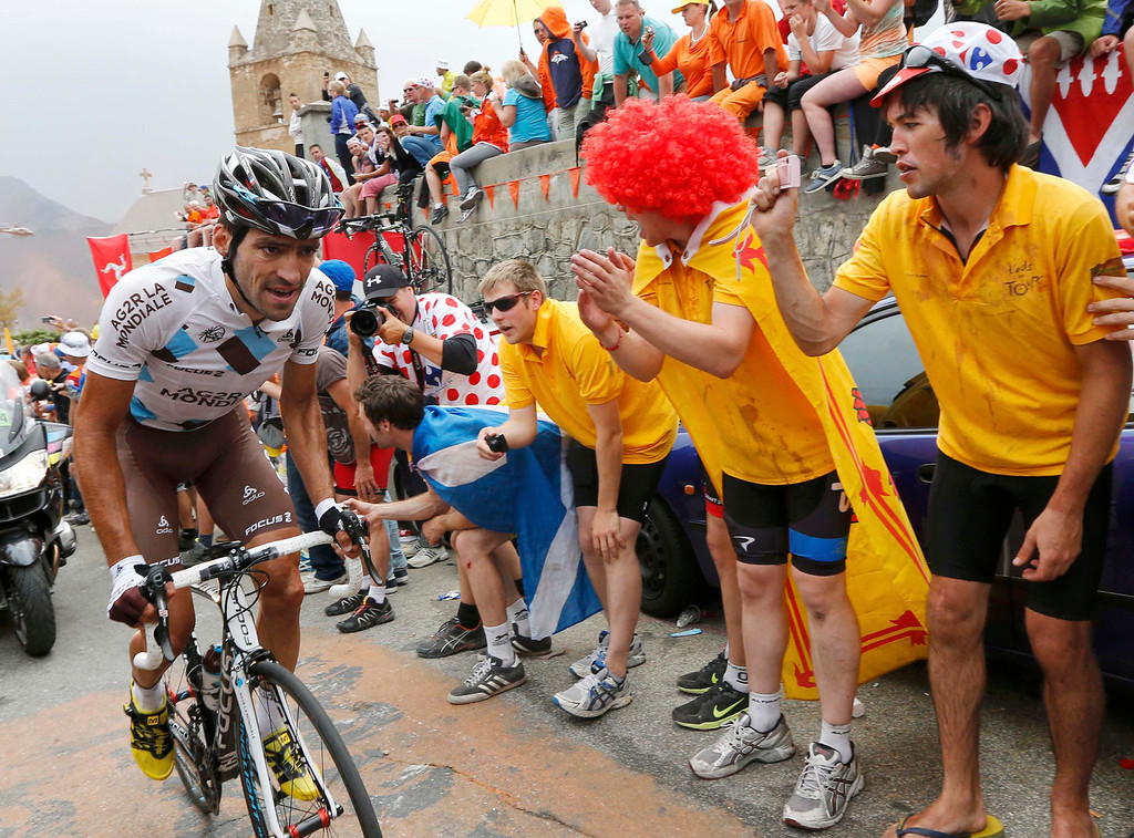 . AG2r La Mondiale team rider Christophe Riblon of France cycles to win the 172.5km eighteenth stage of the centenary Tour de France cycling race from Gap to l\'Alpe d\'Huez, in the French Alps, July 18, 2013.               REUTERS/Jean-Paul Pelissier
