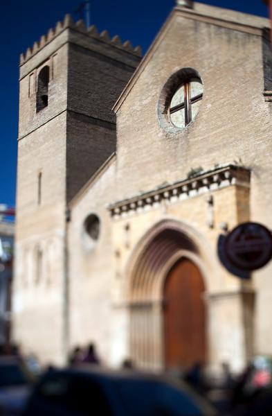Santa Marina church (13th century), Seville, Spain. Tilted lens used for shallow depth of field