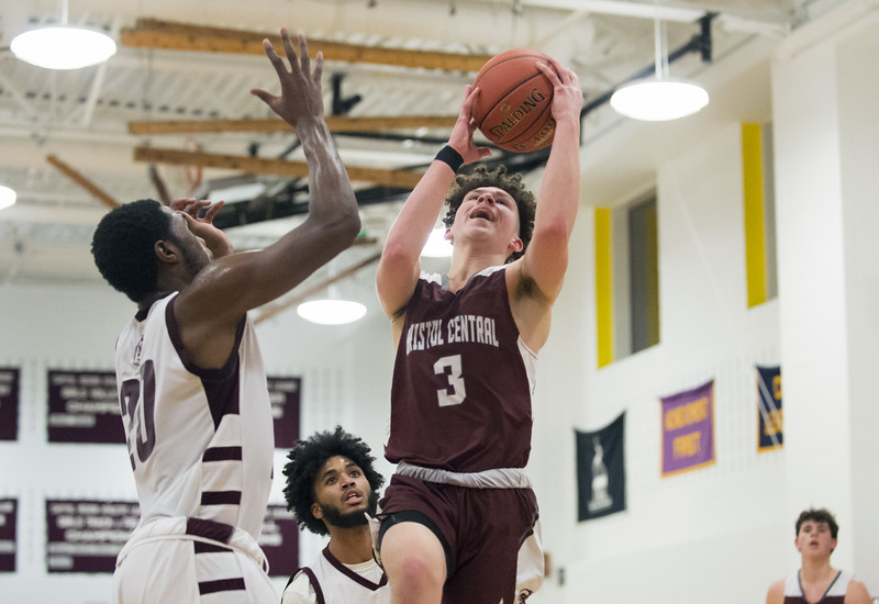 01/15/20  Wesley Bunnell | Staff  Innovation boys basketball was defeated by Bristol Central at home Wednesday January 15, 2019.  Innovation's Clinton Allen (20).