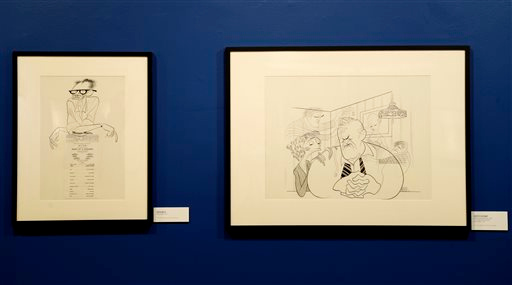 """. Drawings related to the play \""""Death of a Salesman\"""" are displayed in an exhibit on artist Al Hirschfeld at the Library for the Performing Arts in New York, Wednesday, Oct. 16, 2013.  These drawings were part of a series of Pulitzer Prize-winning plays and their authors. (AP Photo/Seth Wenig)"""
