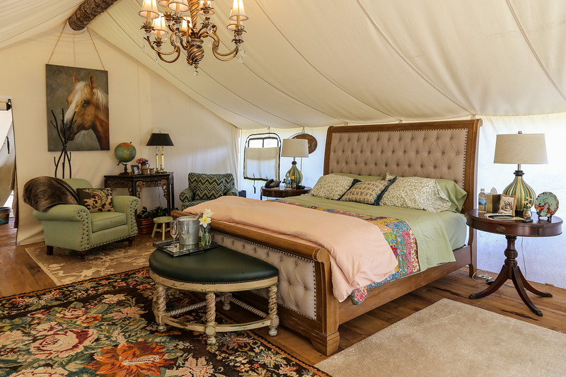 Interior bedroom of a glamping tent